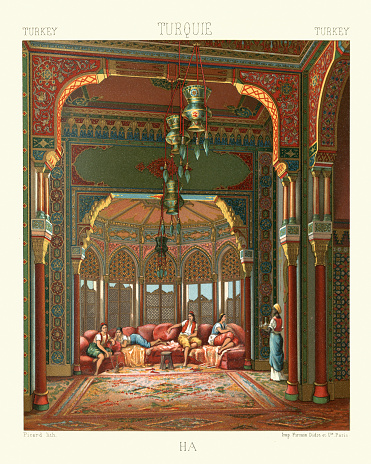 Vintage illustration of Ottoman empire, Harem chamber in a palace, 19th Century
