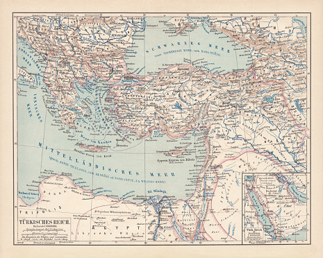 Ottoman Empire, lithograph, published in 1878