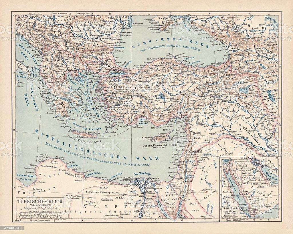 Império Otomano, publicado em 1878 - ilustração de arte em vetor