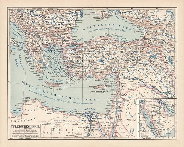 ilustrações, clipart, desenhos animados e ícones de império otomano, publicado em 1878 - mapa do oriente médio