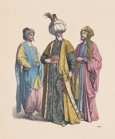 Ottoman Empire: Noble Turks and Sultan, hand-colored wood engraving, published c.1880