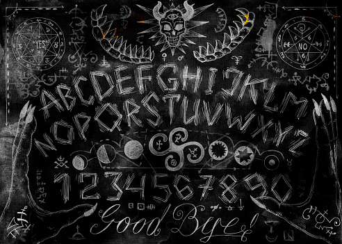 Ouija magic spiritual board design with alphabet letters, hands, pentagram and evil signs.