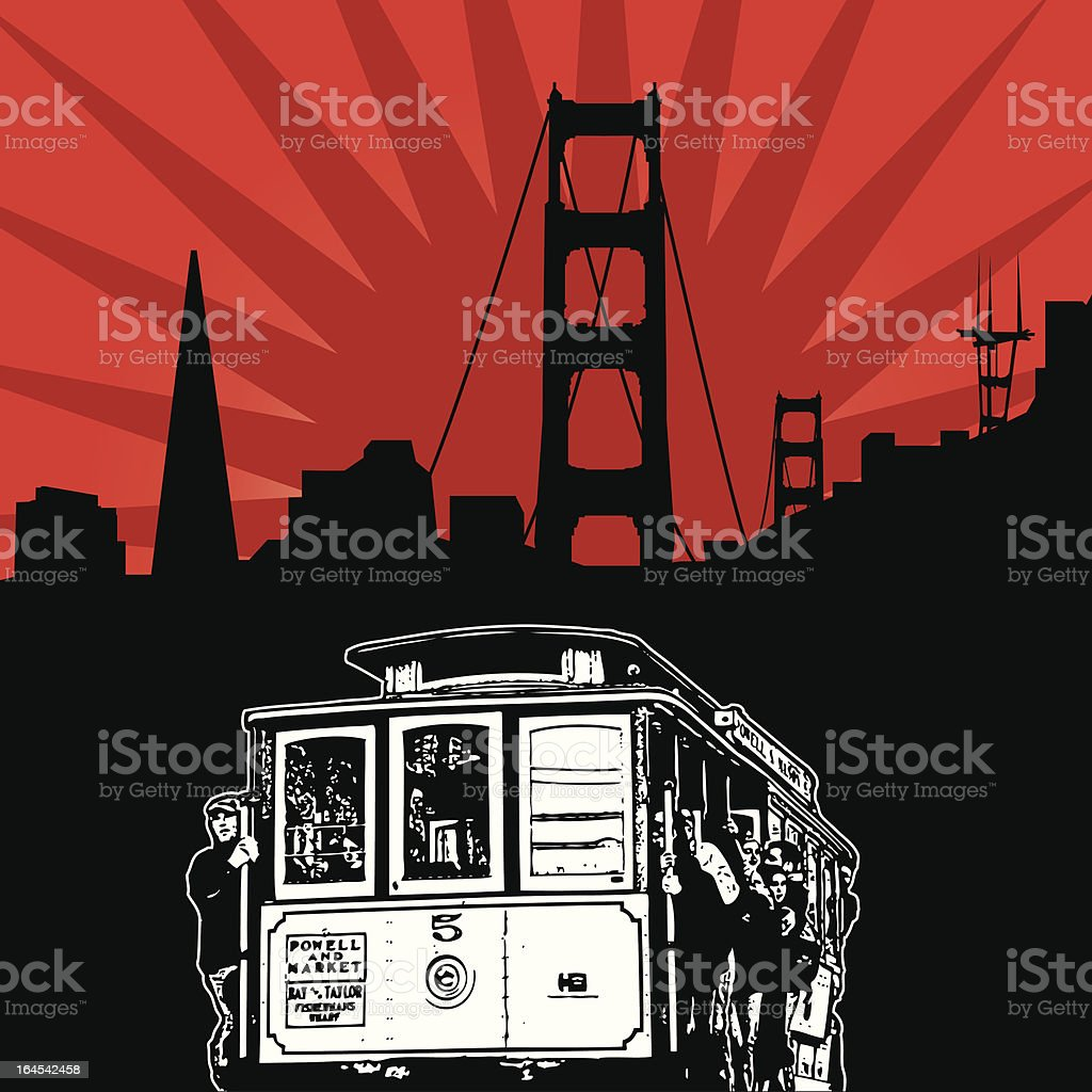 Out on the San Fran Town royalty-free out on the san fran town stock vector art & more images of bridge - built structure