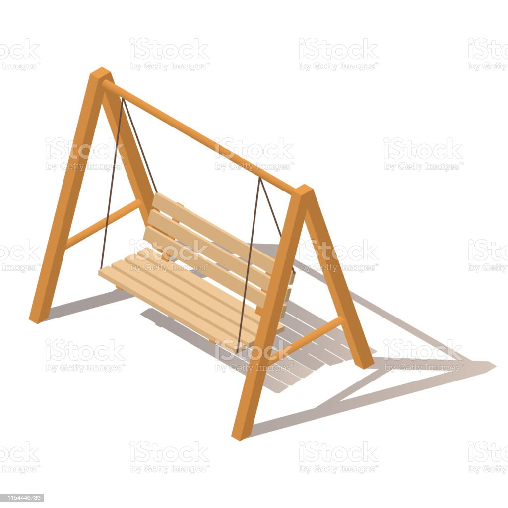 Outdoor Garden Wooden Hanging On Frame Porch Swing Bench