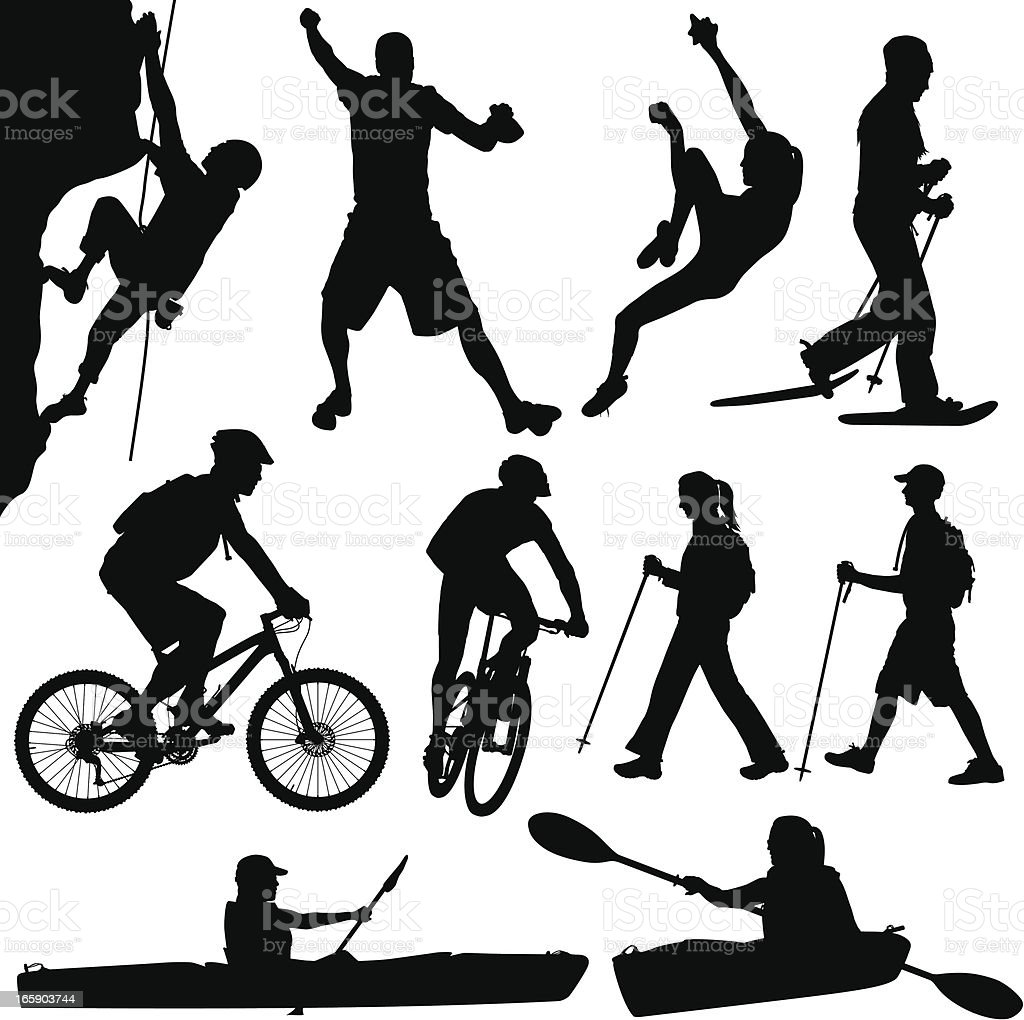 Outdoors People Hiking Kayaking Climbing Biking And Snowshoeing royalty-free outdoors people hiking kayaking climbing biking and snowshoeing stock vector art & more images of activity