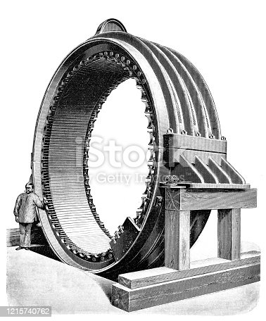 Illustration of a Outer ring of a large three-phase dynamo machine