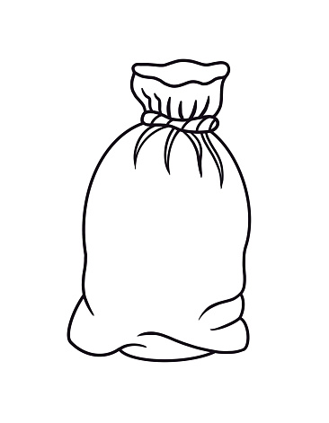 Outline cartoon closed burlap canvas sack for products, bag for cargo. Line art design element isolated. Doodle, coloring book page