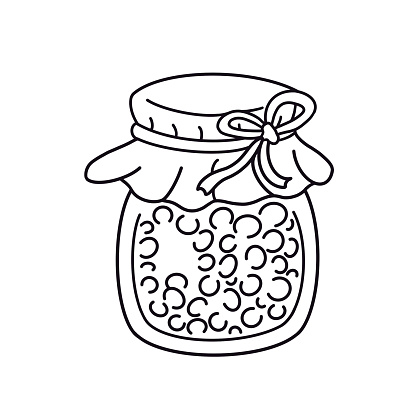 Outline glass jar of berry jam. Dessert, conserve. Hand drawn design element isolated. Line art cartoon illustration, coloring book page.