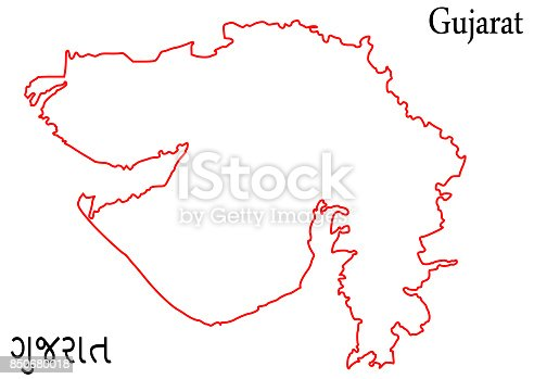 Outline Map Of Gujarat Illustration Silhouette Design Stock Vector ...