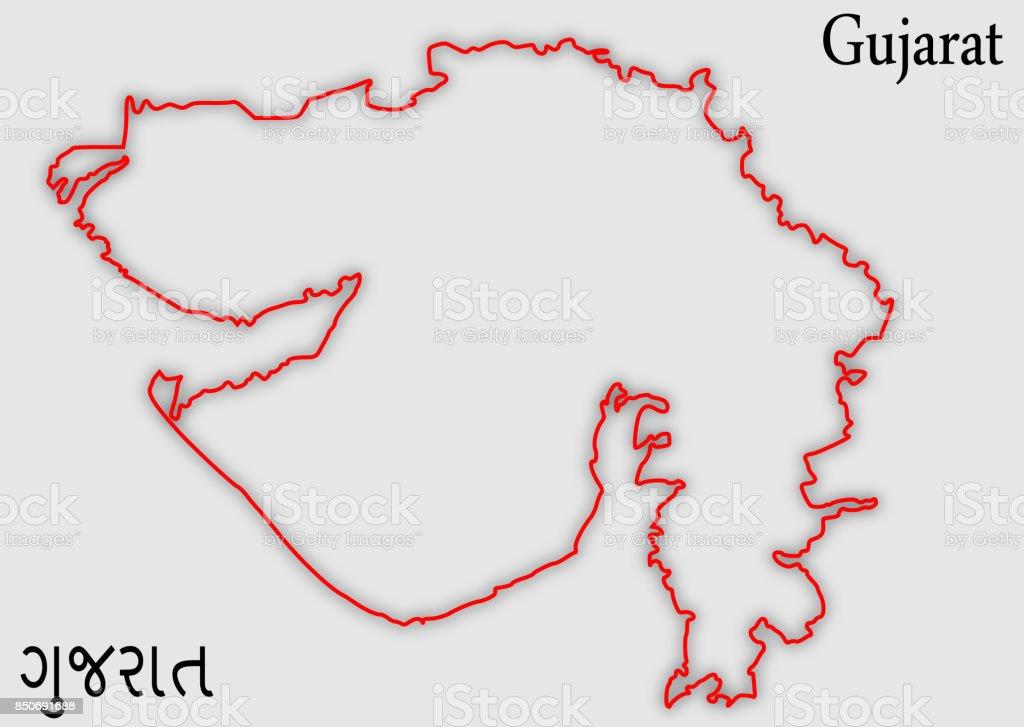 Outline Map Of Gujarat Illustration Silhouette Design Stock Vector ...