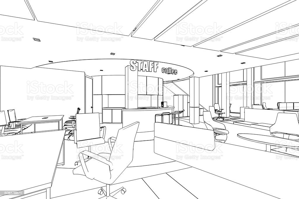 outline sketch of a interior pantry area vector art illustration