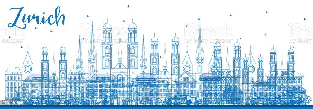 Outline Zurich Skyline with Blue Buildings. outline zurich skyline with blue buildings - immagini vettoriali stock e altre immagini di affari royalty-free
