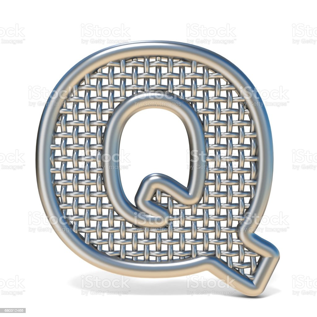 Outlined metal wire mesh font LETTER Q 3D royalty-free stock vector art