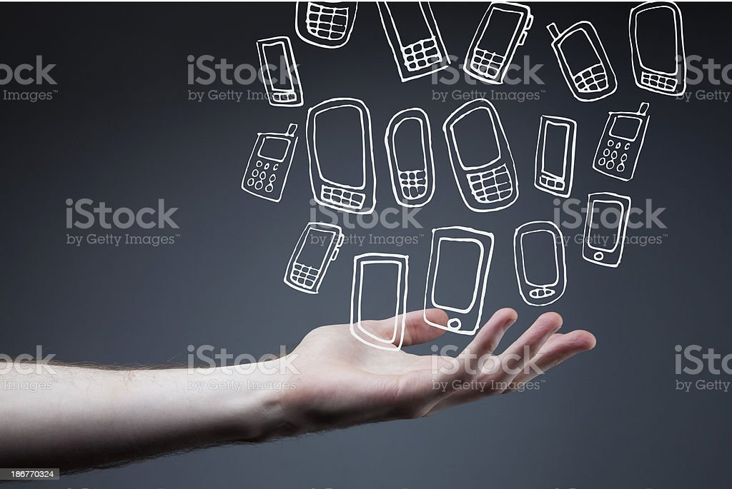 outstretched arm with smart phones royalty-free outstretched arm with smart phones stock vector art & more images of arms outstretched