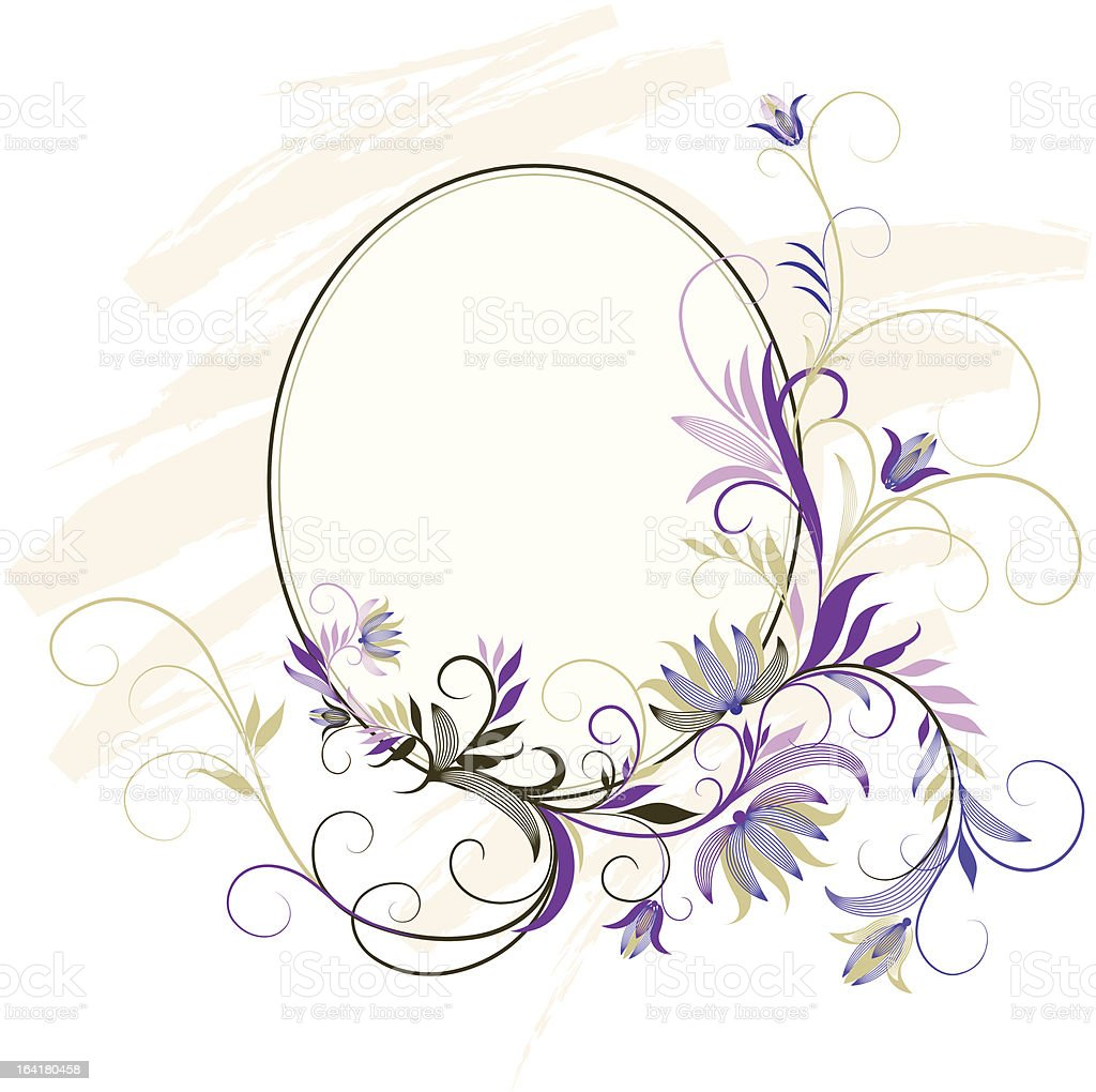 oval floral ornament royalty-free stock vector art