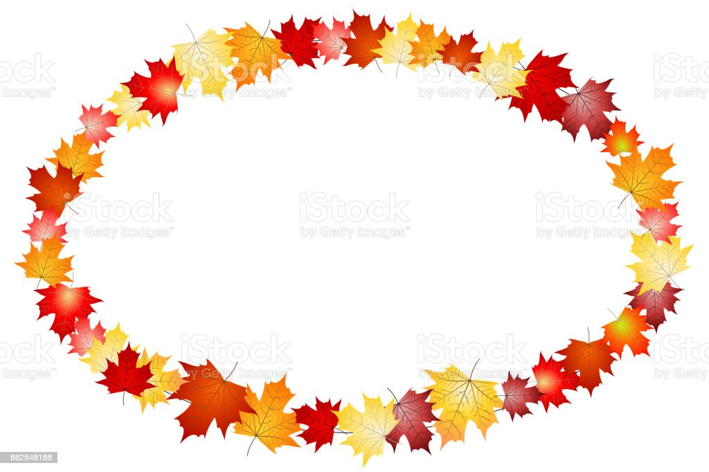 Oval frame made out of leaves vector art illustration