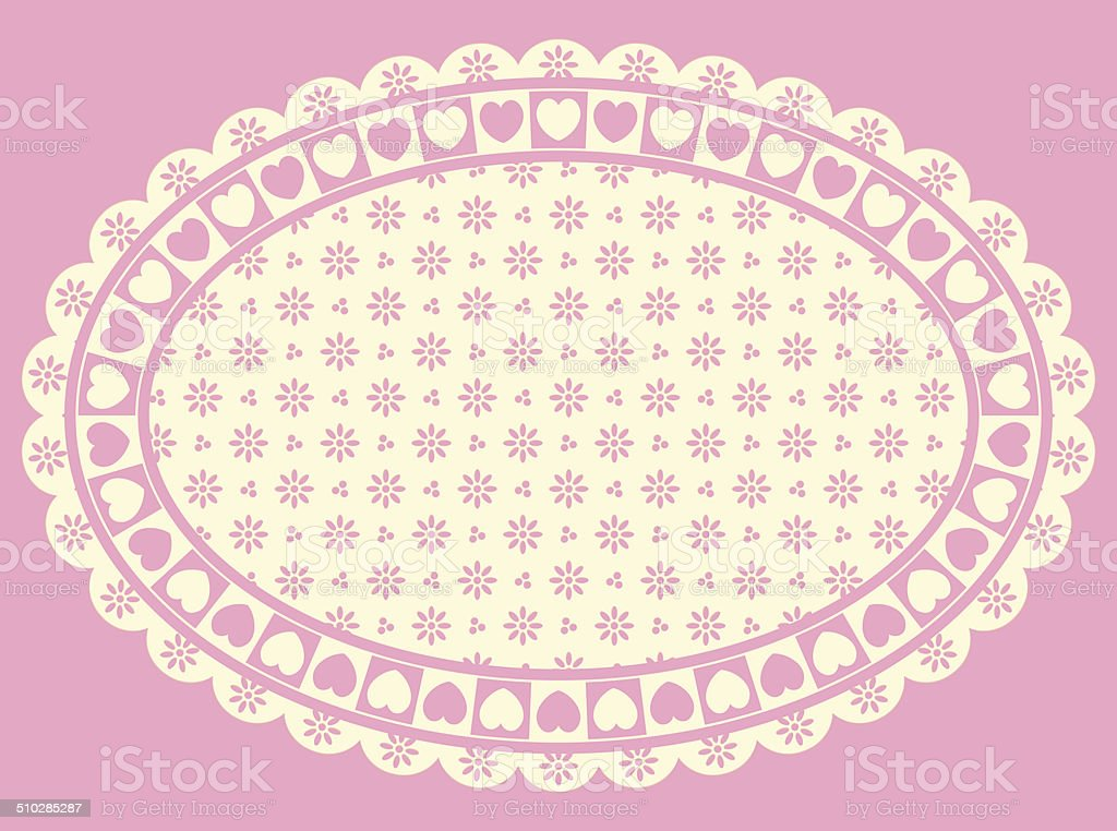 Oval Heart Border with Victorian Eyelet Copy Space vector art illustration
