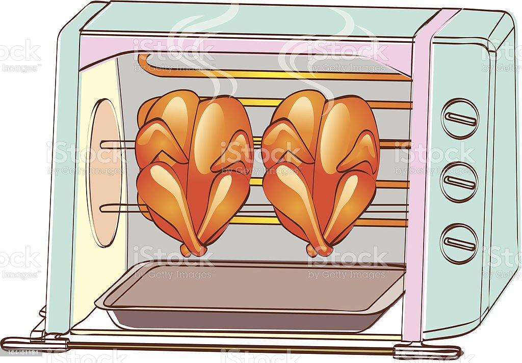 oven roasted chicken vector art illustration
