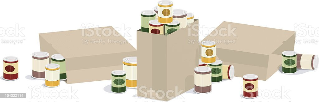 Overflowing Grocery Sacks of Canned Goods vector art illustration
