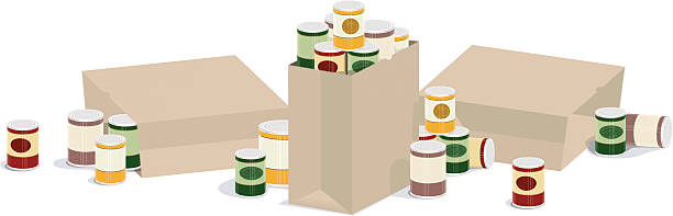 Overflowing Grocery Sacks of Canned Goods three overflowing grocery sacks of canned goods food drive stock illustrations