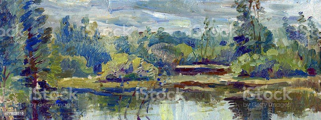 overgrown pond painting oil paints vector art illustration
