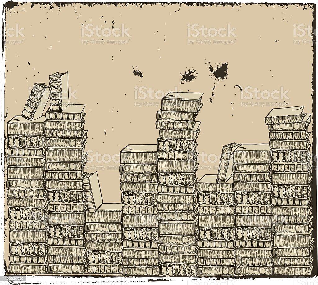 Overlapped books arrangement vector art illustration