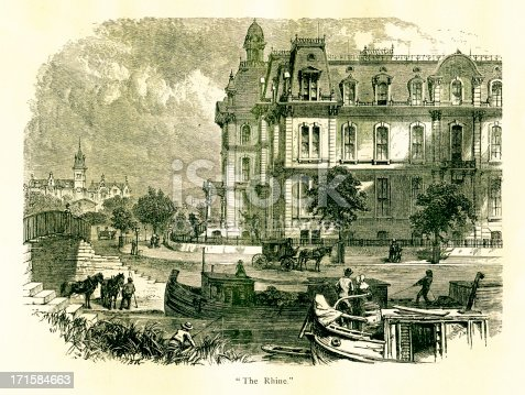 19th-century engraving of Over-the-Rhine, a neighbourhood in Cincinnati, U.S. state of Ohio. Illustration published in Picturesque America (D. Appleton & Co., New York, 1872). MORE VINTAGE AMERICAN ILLUSTRATIONS HERE:
