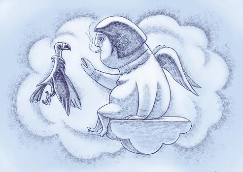 overweight angel meeting vulture