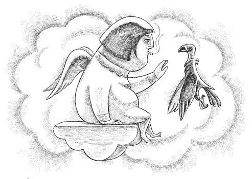 overweight angel meeting vulture sketch
