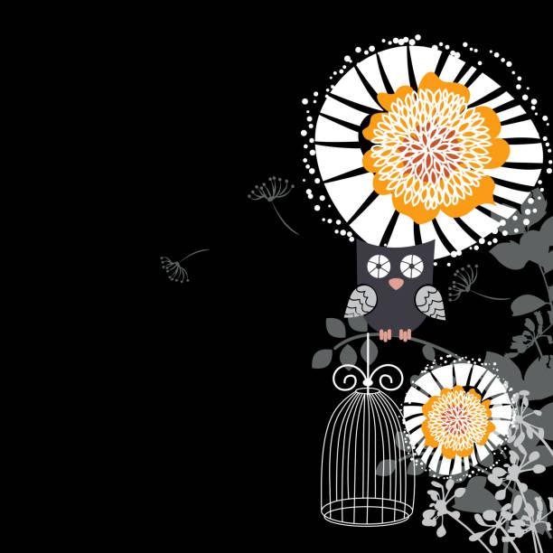 illustrations, cliparts, dessins animés et icônes de chouette et motif fleuri - cage animal nuit