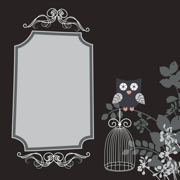 illustrations, cliparts, dessins animés et icônes de chouette image - cage animal nuit