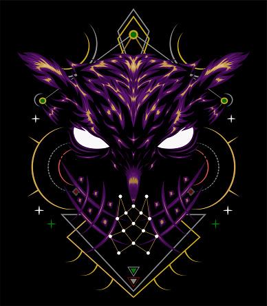 Owl illustration with spiritual symbol