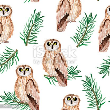 istock Owl in coniferous forest watercolor seamless pattern. 1331459104