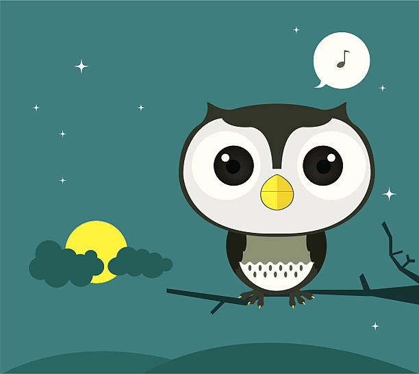 owl in the night - great horned owl stock illustrations, clip art, cartoons, & icons