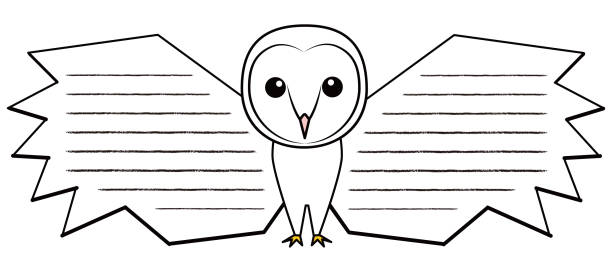 フクロウ メンフクロウ キャラクター メッセージカード イラスト ベクターアートイラスト