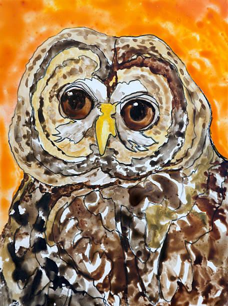 Owl Portrait vector art illustration