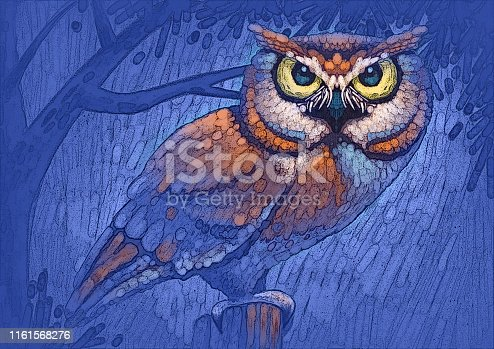 vector illustration of owl standing on pole at night