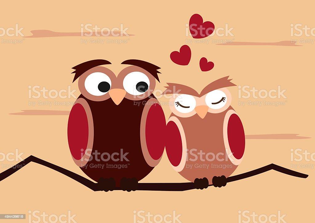 Lustige Eulen Auf Ast Romantische Valentinstagillustration Stock