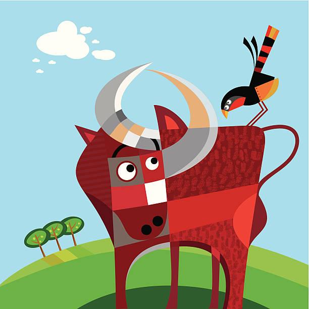 ilustraciones, imágenes clip art, dibujos animados e iconos de stock de ox y bird - tintanegra00