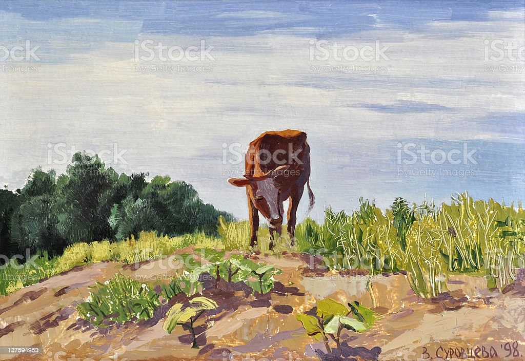 Ox on a hill royalty-free ox on a hill stock illustration - download image now