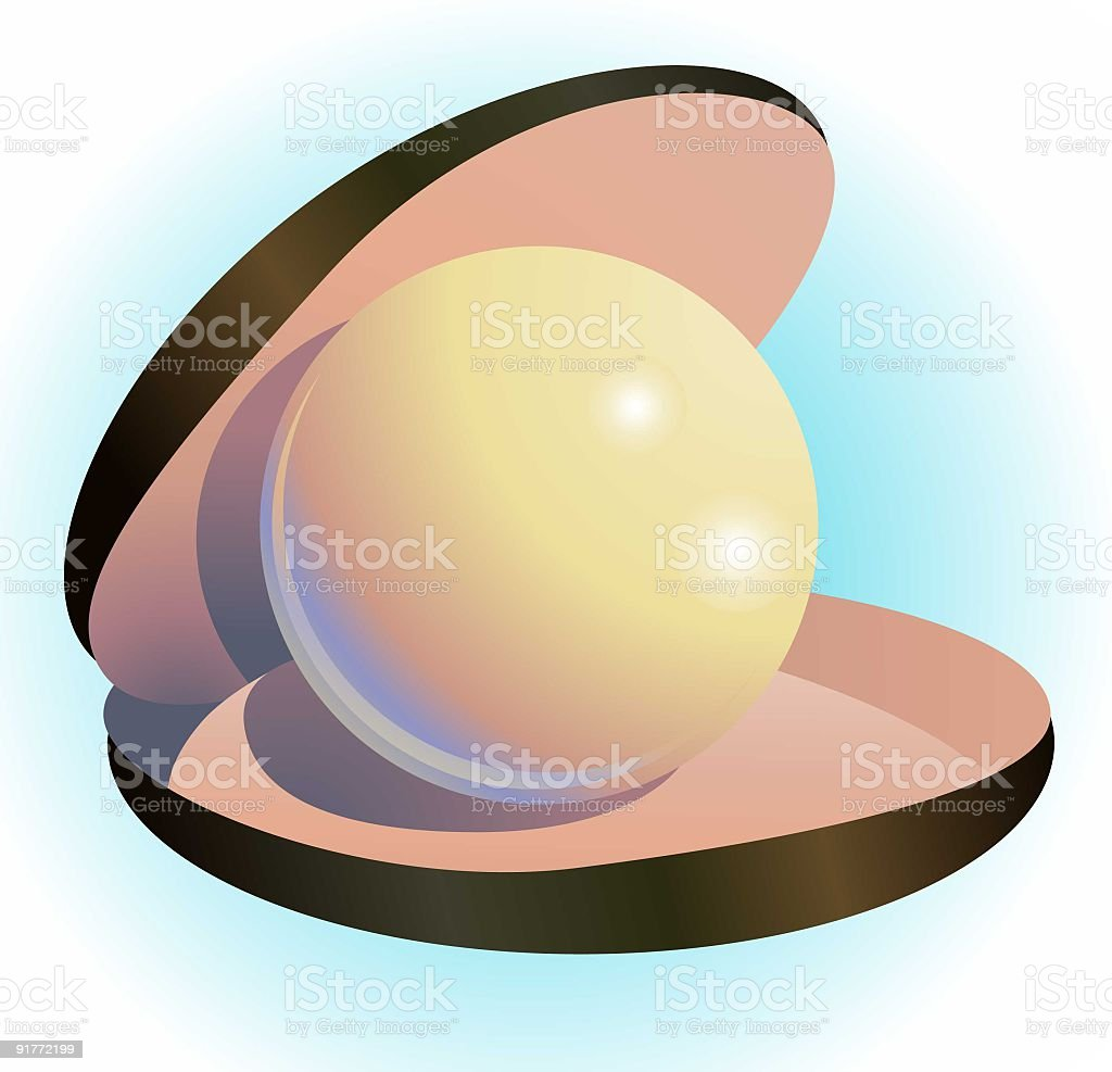 Oyster with Pearl royalty-free stock vector art