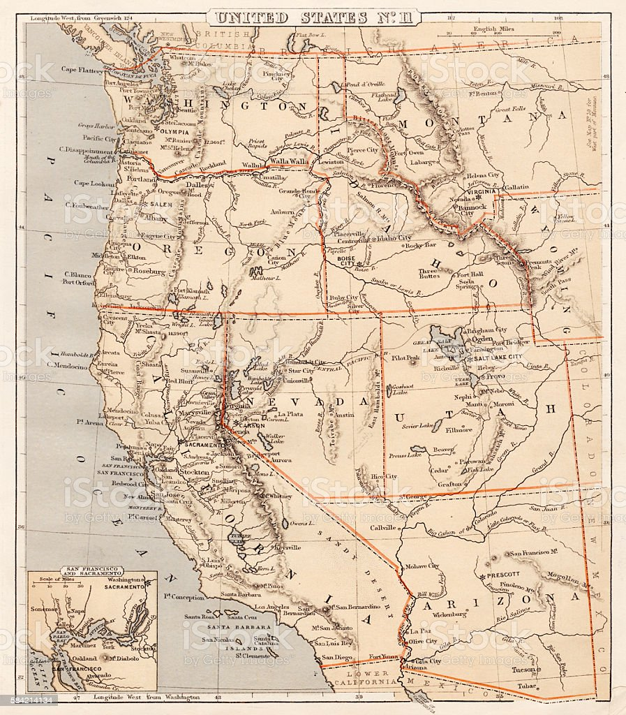 Pacific USA states map 1869 vector art illustration