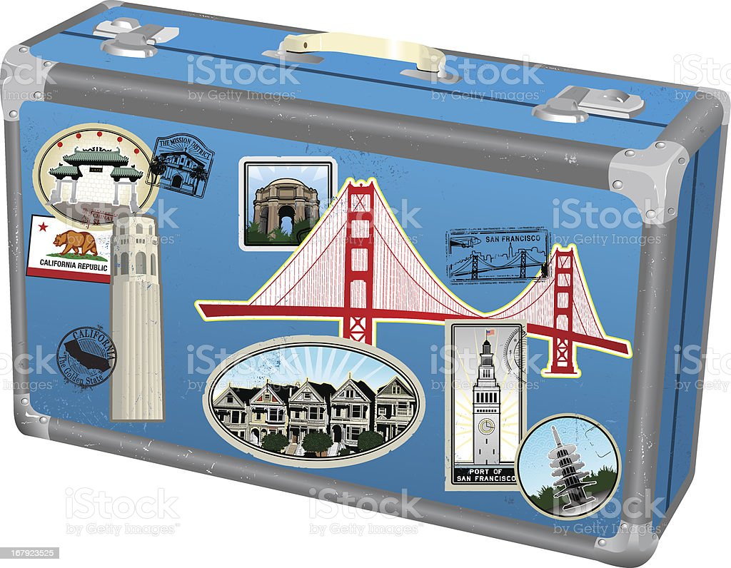 Pack your bags for San Francisco! royalty-free stock vector art