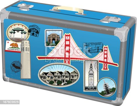 Series of stylized San Francisco landmarks rendered as retro travel stickers on a beaten up retro suitcase. Lots of distress and grunge effects. Great for an old world vintage look.