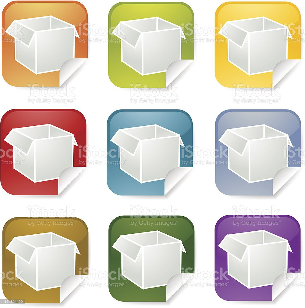 Package square sticker royalty-free stock vector art