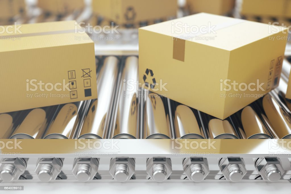 Packages delivery, packaging service and parcels transportation system concept, cardboard boxes on conveyor belt, 3d rendering vector art illustration