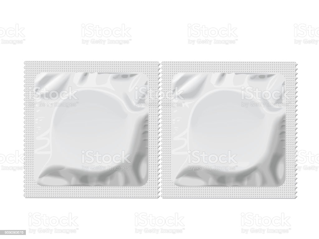 Packaging with a condom vector art illustration