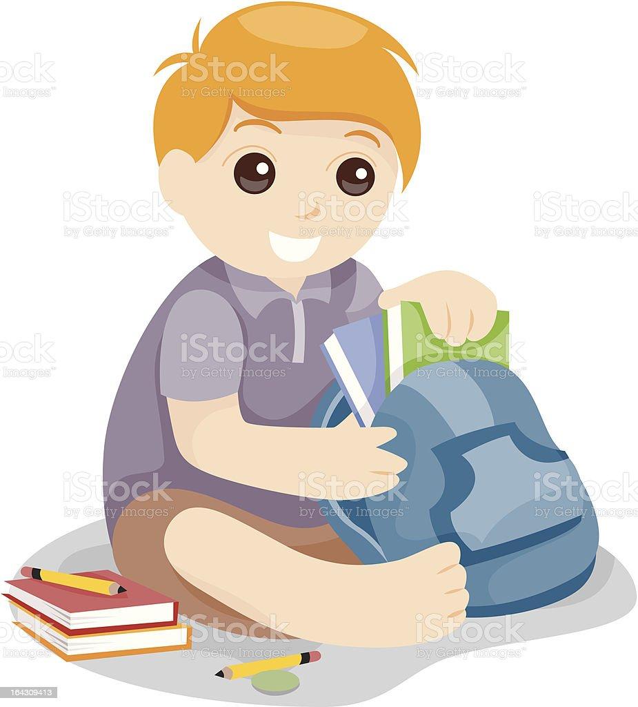 Packing School Bag vector art illustration