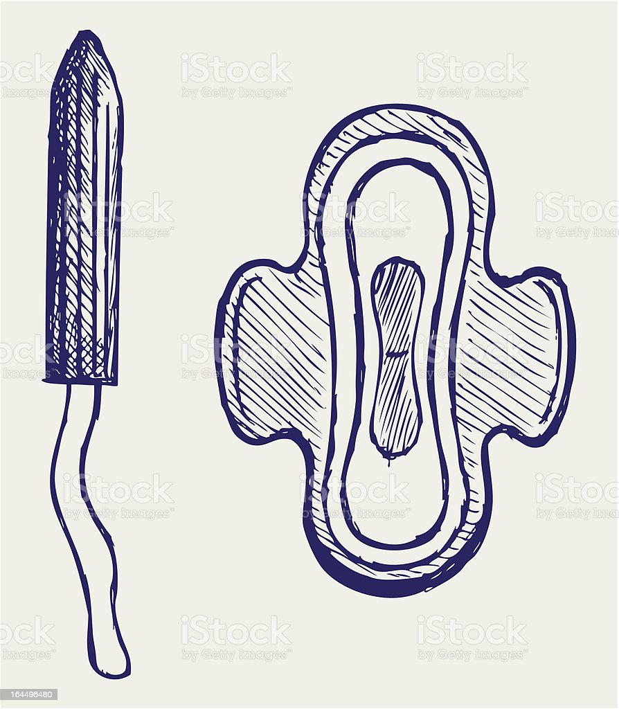 Pad and tampon set vector art illustration