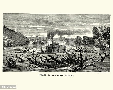 Vintage engraving of a Paddle steamer on Lower Missouri, 19th Century